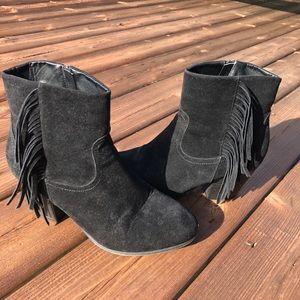 Black fringe heeled booties